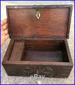Old Early Handcrafted Wooden Jewellery / Merchant's Money Box Brass Fitting