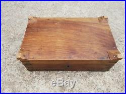 Old Handcrafted Brass Fitted Wooden Jewellery Box Mercantile Money Chest