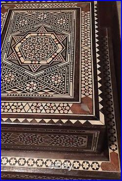 Old Syrian Handmade Mosaic Vintage wood Box Inlaid with Bone&Mother of Pearl
