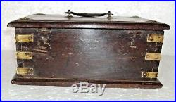 Old Wooden Box hand crafted Money / Jewelry Multi Purpose 3 compartment 007