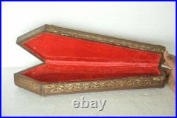 Old Wooden Long Handcrafted Brass Fitted Tie Shape Jewellery Box