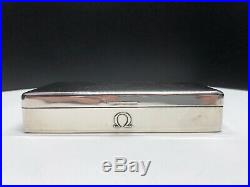 Omega England Sterling Silver And Wooden Watch Holder Box 430.4g 6.5 x 3.5
