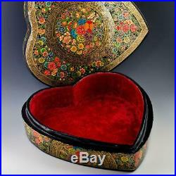 Oriental Flowers Asian Wooden Jewelry Box 9.5 Inches Long
