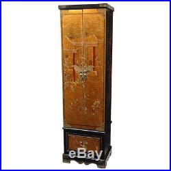 Oriental Furniture Floor Jewelry Armoire in Gold Transitional