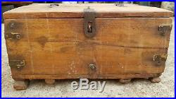 Original Old Primitive Handcrafted Wooden Jewellery Box Mercantile Money Chest