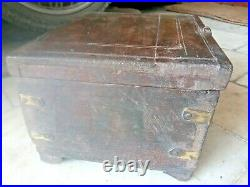 Original Old Vintage Hand Made Early Baras Work Jewelry / Cash Wooden Box