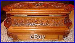 Ornately carved antique cherry wood jewelry box with hidden drawer-15390