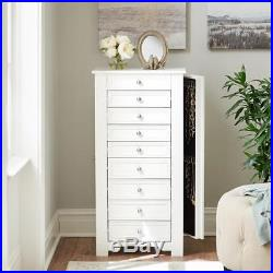 Oxford White Jewelry Armoire Cabinet Storage Organizer Standing Chest with Mirror