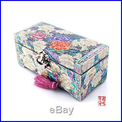 Peony & Butterfly Jewelry Box Inlaid with Mother-of-Pearl for valuables Handmade