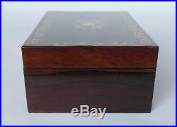 Petite Antique Rosewood & Brass Inlaid Jewellery Box with Key & Tray
