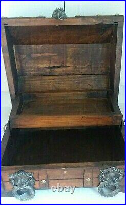 Pirate Treasure Chest Vintage Wooden Jewelry Box with Metal Lion Head Ring Details