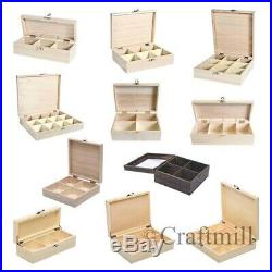 Plain wooden storage boxes, compartments beads jewellery, tea, fishing tackle