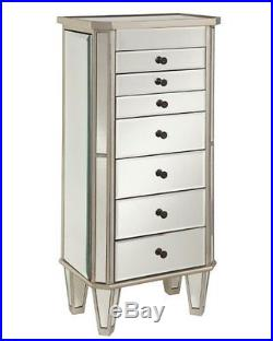 Powell 233-314 Mirrored Jewelry Armoire with Silver Wood NEW