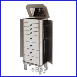 Powell Mirrored Jewelry Armoire in Silver Wood