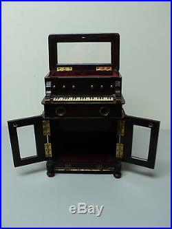 RARE 19th C. ANTIQUE WOODEN MECHANICAL PIANO MUSIC BOX / JEWELRY CABINET
