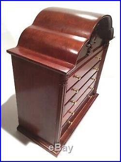 RARE Antique Wood Jewelry Chest with Inlaid Wooden Harp