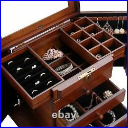 ROULING wooden Jewellery Box 4 Draws Lock and Key Mirror Lined Rectangular New