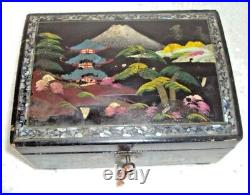 Rare Beautiful Handmade Wooden Jewelry Box Hand Painted Japan With Lock And Key