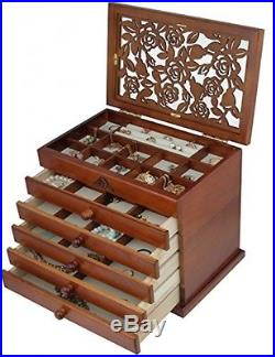 Real Wood / Wooden Jewelry Box Case WJC065HT
