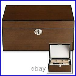 Reed & Barton Modern Lines Jewelry Box Chest Wooden Latte Mirror Drawer Gift New