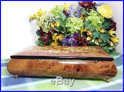 Reuge Music of the Night 22 Note Burled Wood Music box Jewelry Box