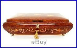 Reuge SWAN LAKE Hand Inlaid Wooden Music Jewelry Box with Key