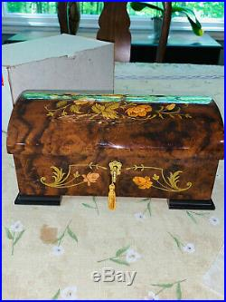 Reuge Wooden Floral Inlaid Music Jewelry Box Edelweissflawless