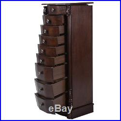 Room Wood Jewelry Cabinet Armoire Box Storage Chest Stand Organizer Case