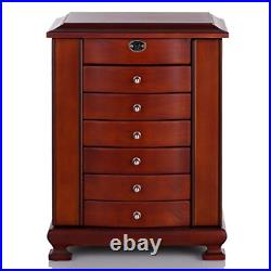 Rowling Large Wooden Jewelry Box Earrling Necklace Bracelets Organizer 6 Drawers