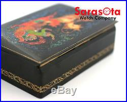 Russian 1981 Palekh Troika Lacquer Hand Painted Wooden Jewelry Box Signed