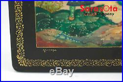 Russian Lacquer Hand Painted Large Wooden Trinket Jewelry Box Artist Signed