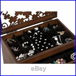 SONGMICS Large Jewelry Organizer Wooden Storage Box 6 Layers Case with 5 Drawers