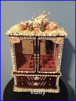 Seashell Jewelry Box Vintage Wood Glass Mirror Nautical Beach Themed Painted