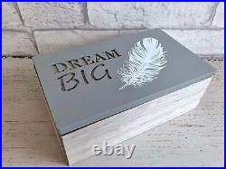 Set of 2 Wooden Storage Boxes Angel Feather Dream Big Design Jewellery Holder