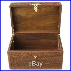 Sheesham Wood Hand Carved Indian Oriental Wooden Chest 18 Inches X 12 Inches x 1