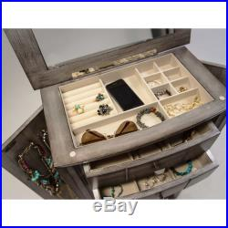 Silver Jewelry Armoire 6 Drawer Box Organizer Lift Top Wooden Storage Chest
