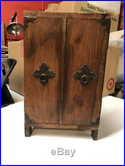 Small Vintage 1920s Asian Chinese Wooden Cabinet Jewelry Chest
