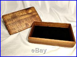 Solid Premium Hawaiian Tiger Curly Koa Wood Jewelry Box with Removable Lid
