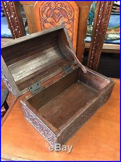 Spanish Colonial Hand Tooled Leather Box By R Furniture