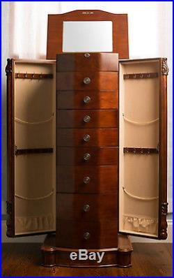 Up Jewelry Box 8 Drawer Wooden Jewelry Armoire with Mirror Walnut Finish