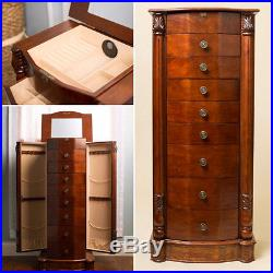 Stand Up Jewelry Box 8 Drawer Wooden Jewelry Armoire with Mirror Walnut Finish