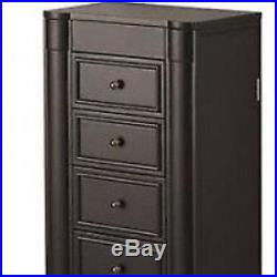Stand Up Jewelry Box Armoire Cabinet Storage Chest Necklace Organizer Black NEW