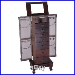 Stand Up Jewelry Box Mirrored Armoire Cabinet Wooden Storage Chest Organizer