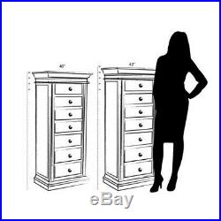 Stand Up Jewelry Box With Mirror Wooden With Drawers Tall Armoire Organizer New