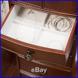 Standing Jewelry Armoire Cabinet Box Storage Chest Stand Organizer Necklace Wood