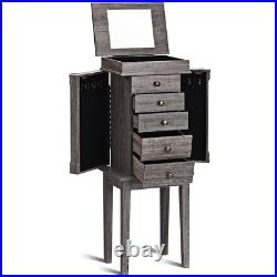 Standing Jewelry Cabinet Storage Organizer with Wooden Legs Armoire Box Chest