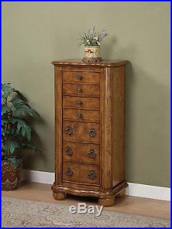 Standing Jewelry Organizer 7 Drawers Wood Furniture Chest Mirror Oak Armoire New