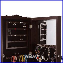 Standing Lockable Jewelry Boxes Cabinet Armoire Mirror Organizer LED Espresso US