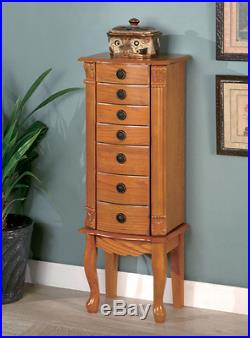 Standing Oak Wood Armoire Jewelry Cabinet Home Storage Box Ring Organizer NEW