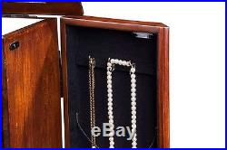 Standing Wooden Jewelry Storage Armoire Organizer Mirror Cabinet Drawers Chest